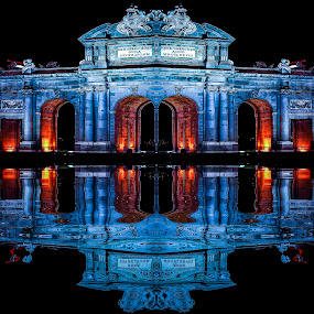 madrid by Christian Heitz - City,  Street & Park  Night ( nuit, lumiere, bleu reflet )