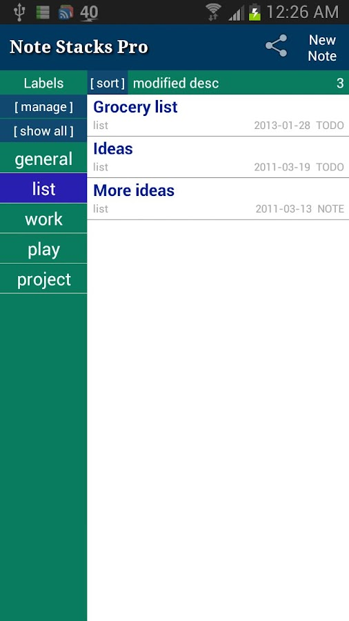Note Stacks Pro (Notebook)- screenshot