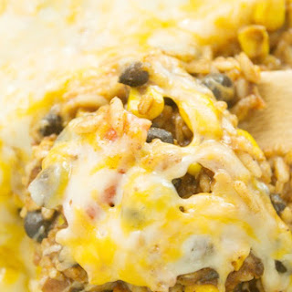 Cheesy Enchilada Rice Skillet Casserole.
