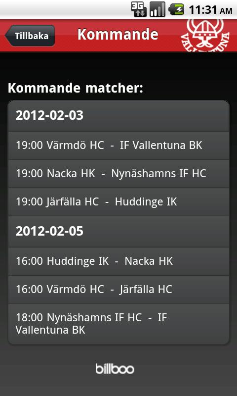 Vallentuna Hockey- screenshot