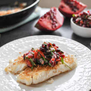 Toasted Coconut Tilapia with Pomegranate Salsa.