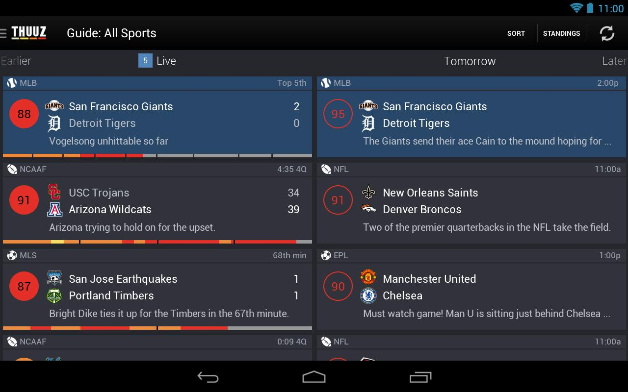 Thuuz Sports - screenshot
