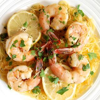 Spaghetti Squash Shrimp Scampi.