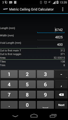 Metric Ceiling Grid Calculator