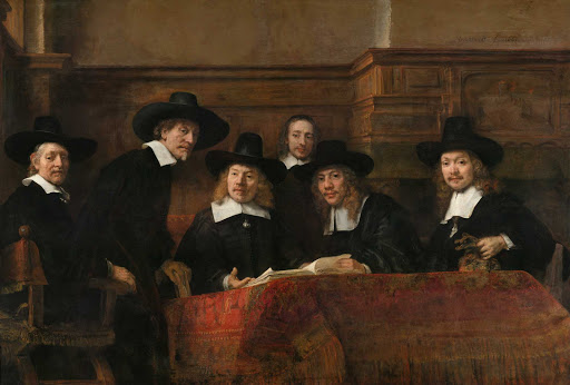 "Wardens-Amsterdam-Guild-Rembrandt-Amsterdam - ""The Wardens of the Amsterdam Drapers' Guild"" (1662), oil painting by Rembrandt Harmenszoon van Rijn. See it at the Rijksmuseum in Amsterdam, the Netherlands."