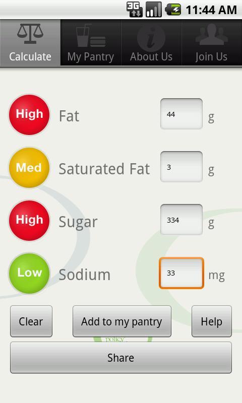 Traffic Light Food Tracker- screenshot