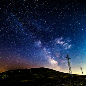 Energetic Way by Luca Libralato - Landscapes Starscapes ( stars, night, castelluccio di norcia, energy, milky way,  )