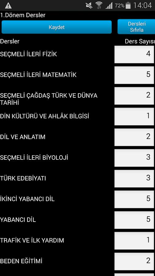 E-Okul Ortalama Hesaplama - screenshot