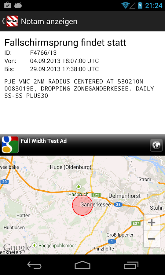 VFRnotam- screenshot