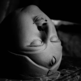making of ma durga by Payal Das - Black & White Abstract (  )