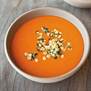 Roasted Red Pepper Puree with Spicy Corn Salsa