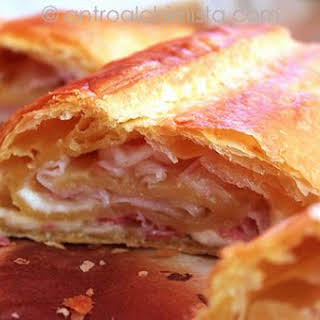 Savory Cheese and Bacon Strudel.