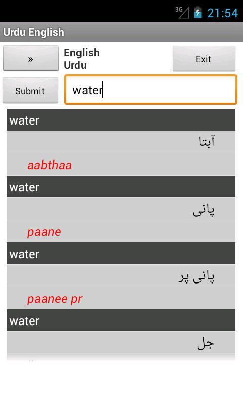 English Urdu Dictionary - screenshot