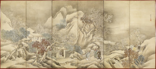Folding screen. Liu Bei visited Zhuge Liang in his hermitage three times