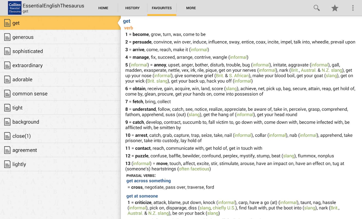 Collins Essential Thesaurus TR - screenshot
