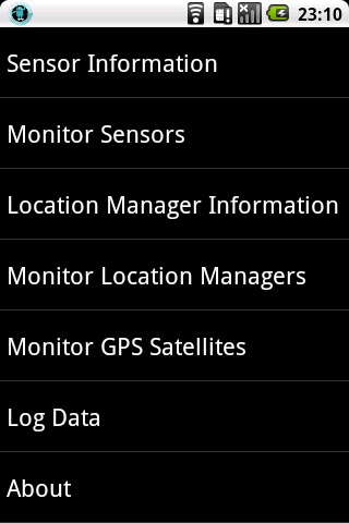 Sensor and GPS Monitor - screenshot