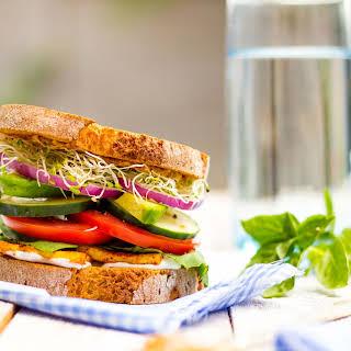 Ultimate Veggie Sandwich with Smokey Tofu & Lemon Basil Mayo.