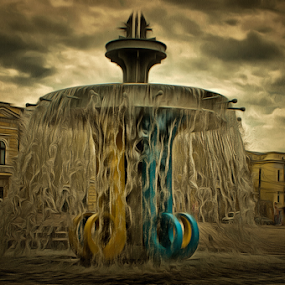 Fountain on an area of Heroes Square. by Michael Krivoshey - City,  Street & Park  Fountains ( canon, old, europe, kirovohrad, кіровоград, street, kirovograd, cityscape, architecture, travel, украина, people, historic, city, daytime, sky, water, building, hdr, кировоград, kropyvnytskyi, urban, tourist, ukraine, кропивницький, outdoor, fountain, artistic, summer, town, square )