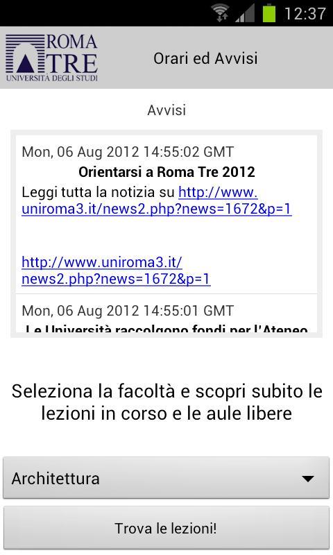Università Roma TRE- screenshot
