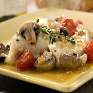 Roasted Cod With Mushrooms.