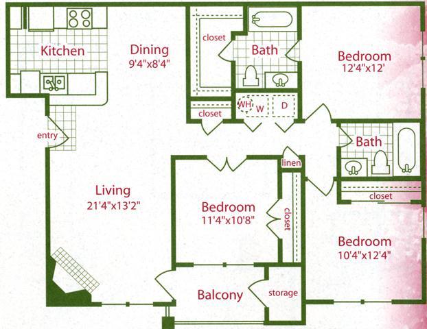 C1 3 Bed 2 Bath The Gates Of Cedar Hill Apartments