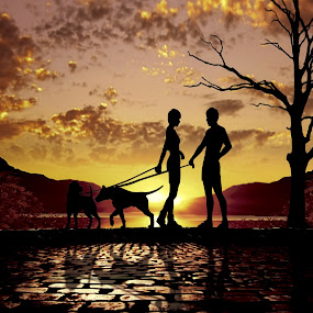 It's time for love...... by Juprinaldi Photoart  - Digital Art People ( peoples                couples                 women                man                    dogs                     sunset                           trees                       sun                                 clouds                          love )