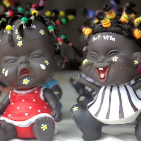 Cute Warrior Dollies by Sue Bensted - Artistic Objects Toys ( doll, happy, sad, art, black, emotion, island )