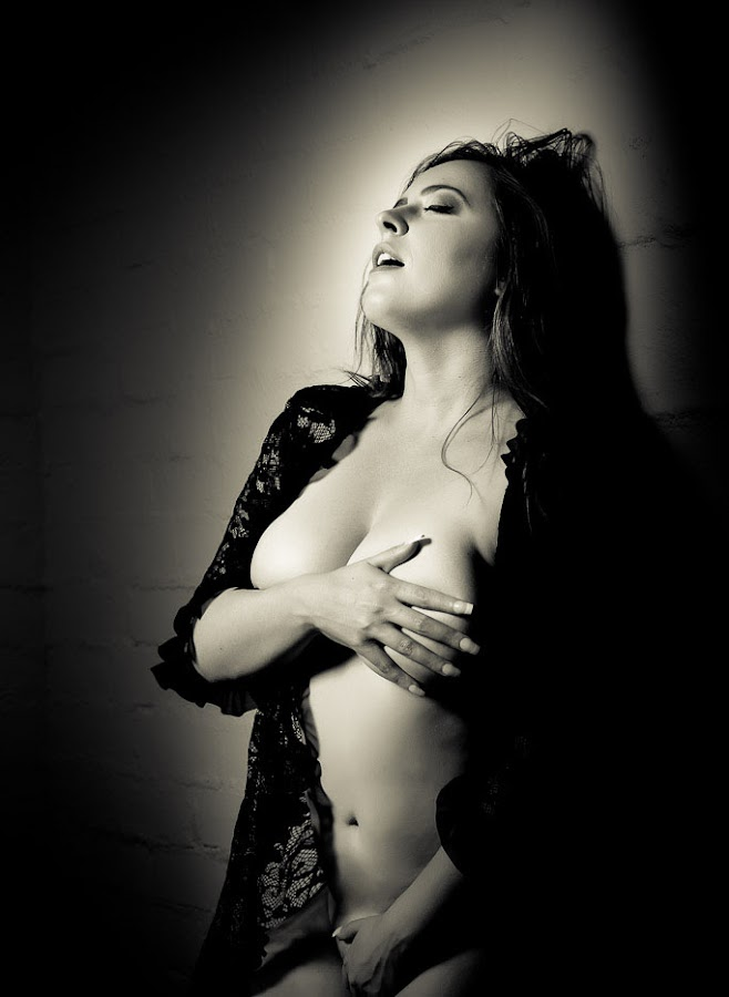 Hot Stuff by Simone Sheridyn - Black & White Portraits & People ( sexy, erotica, black and white, elegant, moody, hot )