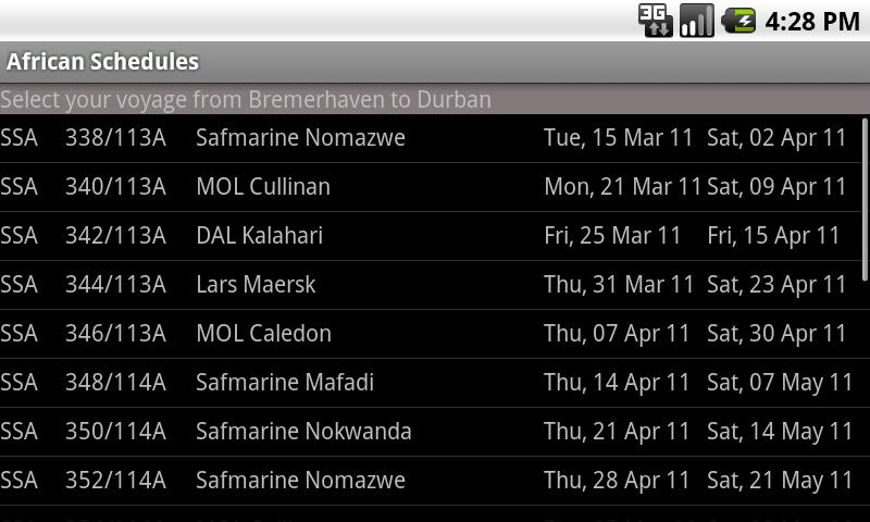 AfricanSchedules - screenshot