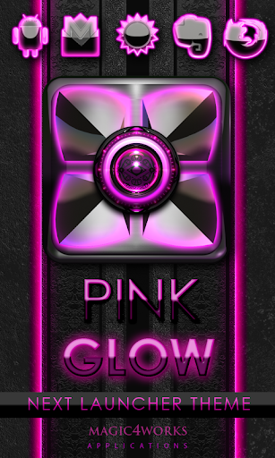 Next Launcher Theme Pink Glow