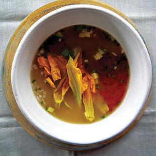 Caldo Xóchitl con Flor de Calabaza (Squash Blossom Soup).