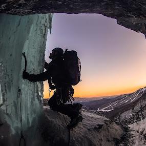 Caveman by Matthew Robertson - Sports & Fitness Climbing ( climbing, sunset, ice, silhouette, rock, landscape, climber )