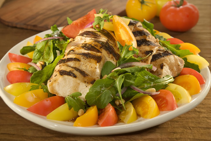 Tri-Colored Tomato Salad with Balsamic Chicken  Recipe