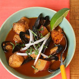 Rick Bayless's Red Chile Seafood Soup.