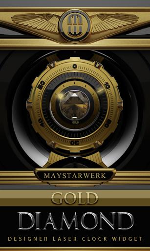 Clock Widget Gold Diamond