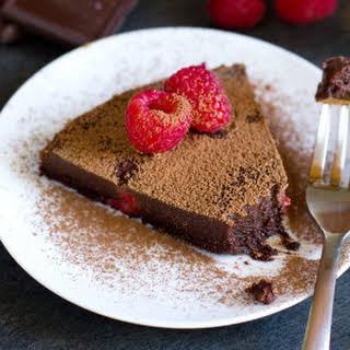 Flourless Dark Chocolate Raspberry Cake.
