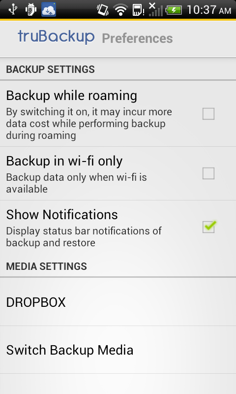 truBackup - Mobile Backup- screenshot