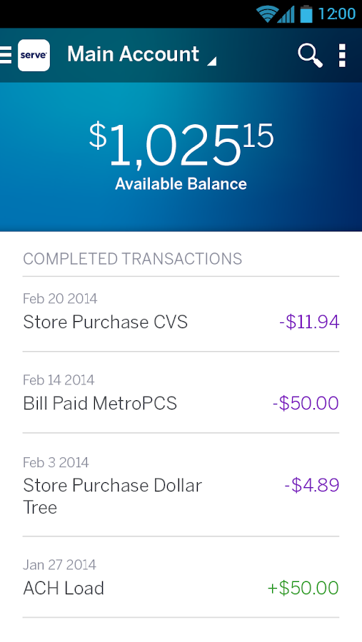Amex Serve - screenshot