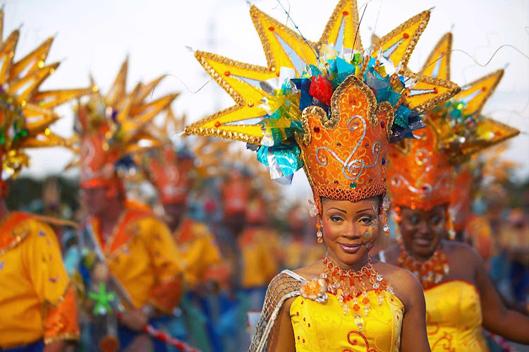 A scene from Curacao's Carnival, a spectacular streetside celebration of the island's culture the first five weeks of the year.