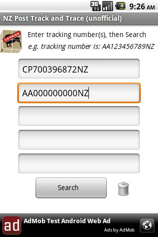 NZ Post Track and Trace (un) - screenshot