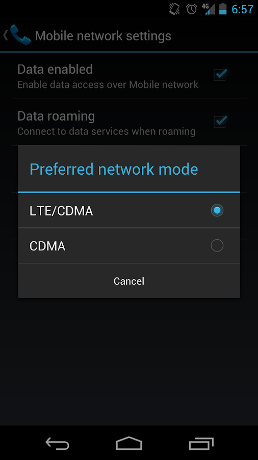 LTE Switch - Galaxy Nexus - screenshot