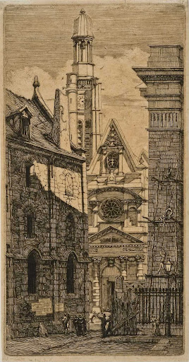 St. Etienne-du-Mont, Paris, from Eaux-fortes sur Paris (Etchings of Paris)