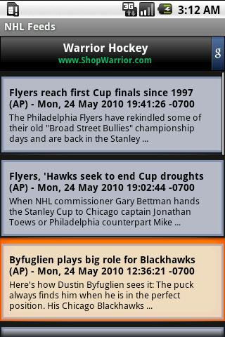 NHL News Feed - screenshot