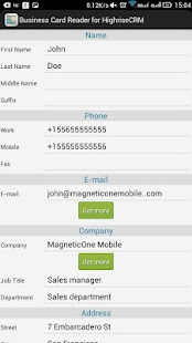 Free Business Card Reader for Highrise CRM- screenshot thumbnail