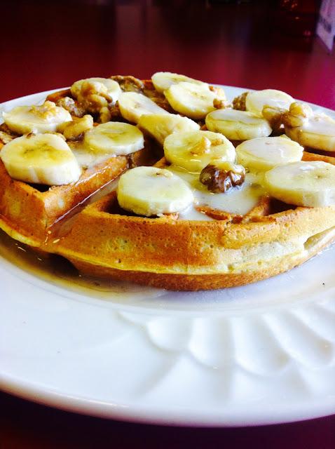 Banana honey nut waffles