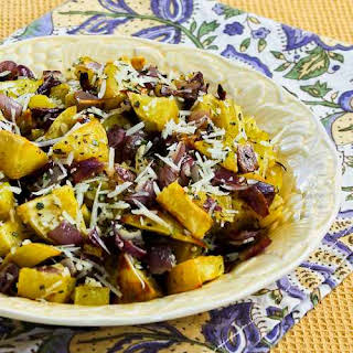Savory Roasted White Sweet Potatoes with Red Onions, Rosemary, and Parmesan.