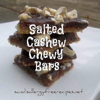 Salted Cashew Chewy Bars (Gluten Free/ Grain Free/ Dairy Free/ Refined Sugar Free/ Vegan/ Paleo)