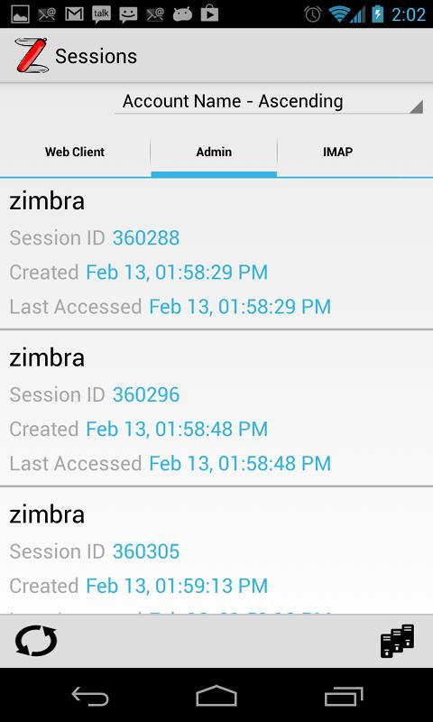 ZadmiN - Zimbra Administration - screenshot
