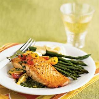 Salmon with Basil Sauce.