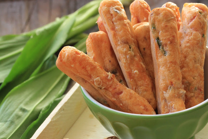 Salted Fingers with Wild Garlic, Sundried Tomatoes and Hazelnuts for Aperitif Recipe